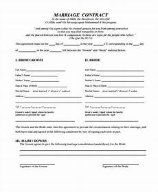 7 marriage contract form sles free sle exle format download