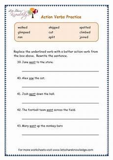 grade 3 grammar topic 2 action verbs worksheets lets