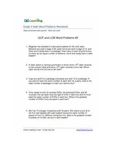 gcf and lcm word problems 2r answersgr5 reading math at k5learning com grade 5 math word