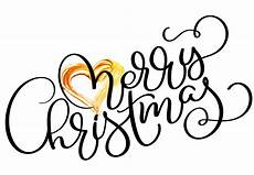 merry christmas holiday text with gold heart drawn calligraphy lettering vector