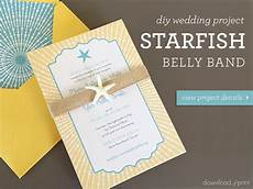 diy beach wedding invitation with starfish belly band