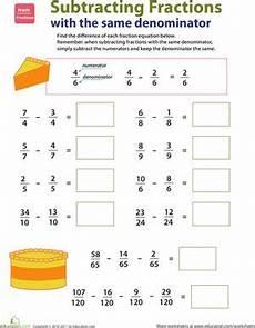 fraction worksheets same denominator 4099 introducing fractions subtracting fractions resta de fracciones actividades de fracciones y