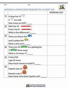 addition and subtraction word problems worksheets year 1 9882 1st grade addition and subtraction word problems