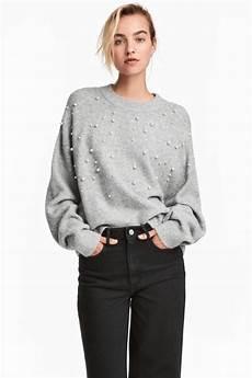 Knit Beaded Sweater Light Gray Sale H M Us