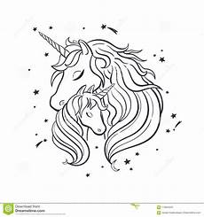 unicorn family magic 4 stock vector