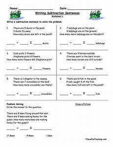 subtraction sentence worksheets writing subtraction sentences worksheets have fun teaching