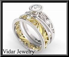 white and yellow gold wedding ring vidar jewelry unique custom engagement and wedding rings