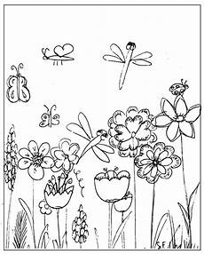 free printable coloring page flowery meadow and dragonfly