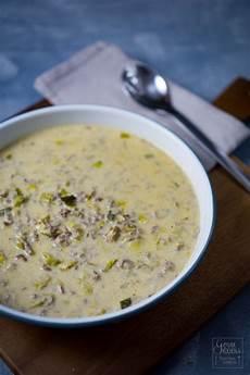 Lauchcremesuppe Mit Hackfleisch - rezept lauchcremesuppe oder k 228 se lauch suppe gernekochen de