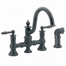 moen black kitchen faucet moen waterhill 2 handle high arc side sprayer bridge kitchen faucet in wrought iron s713wr the