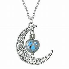 new glow in the dark stainless steel chain moon crescent necklace pendant ebay