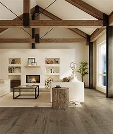 4 homes using concrete as a stylish exposed beams wood floors modern farmhouse living room