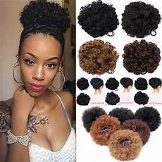 afro bun curly ponytail puffs drawstring ponytails clip in
