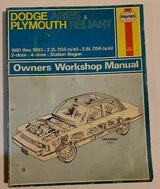 service repair manual free download 1981 plymouth reliant on board diagnostic system dodge aries and plymouth reliant 1981 thru 1989 haynes repair manual 723 ebay