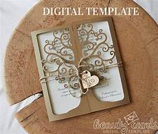 thank you card template cricut tree wedding invitation card laser cut template cricut ai