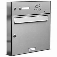 Briefkasten Mit Klingel Aufputz - 1er premium edelstahl briefkastenanlage f 252 r aufputz