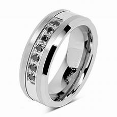 rings 100s jewelry 8mm men s tungsten ring black cz