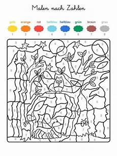 Ausmalbilder Zahlen Farben Ausmalbild Malen Nach Zahlen Fuchs Und Eule Ausmalen