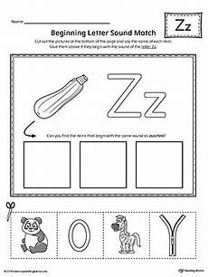 letter z beginning sound picture match worksheet a to z activity phonics worksheets