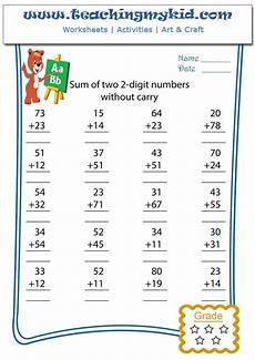 math worksheet sum of two 2 digits numbers without carry