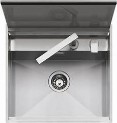 rubinetto a scomparsa lavello lab con coperchio incasso e filo 57x51 barazza srl