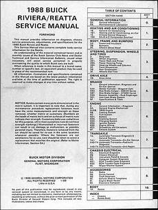 car engine manuals 1988 buick riviera parking system 1988 buick riviera and reatta original shop manual repair service book ebay