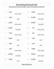 decimals rounding worksheets 7269 rounding various decimals to various decimal places a