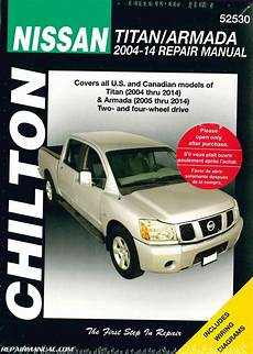 manual repair autos 2007 nissan titan user handbook chilton 2004 2014 nissan titan 2005 2014 nissan armada auto repair manual