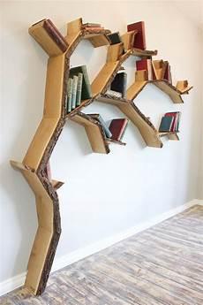 modern tree shelves playfully designed to hold books on
