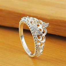 fashion womens princess queen crown wedding ring silver plated crystal ring ebay