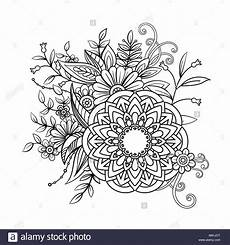 floral mandala pattern in black and white coloring