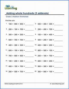 addition worksheets class 3 8805 grade 3 addition worksheet adding whole hundreds 3 addends k5 learning