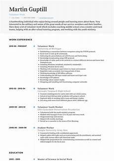 volunteer work resume sles and templates visualcv