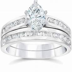 2 carat marquise enhanced diamond engagement wedding ring set white gold 14k ebay