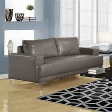 Modern Leather Sofa In Grey Modern Living Room Seating