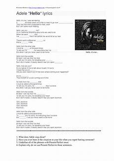 testo adele rolling in the song worksheet hello by adele present