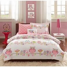 full 8 pc girls owl bedding set bag pink purple flowers