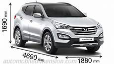 dimension hyundai ix35 dimensions of hyundai cars showing length width and height