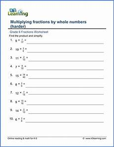 grade 6 fractions worksheet multiplying fractions by whole numbers fractions worksheets