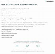 worksheets middle school 15539 quiz worksheet middle school reading activities study