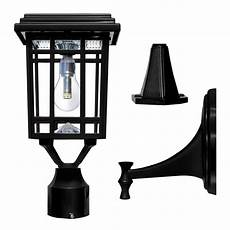 gama sonic prairie bulb single black integrated led outdoor solar light with 3 mounting