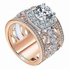 18k rose and white gold stacked multi band vintage diamond engagement mullen jewelers