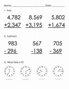 addition subtraction with regrouping time practice worksheet tpt