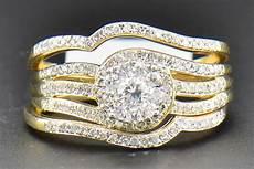 diamond bridal 14k yellow gold engagement ring wedding