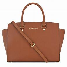 michael kors selma saffiano leather tote in brown lyst