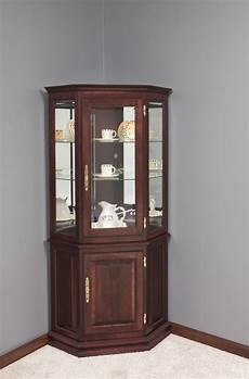 hardwood corner curio cabinet with enclosed base in 2019