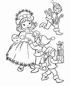 Give Gift To Kids Christmas Elf Print Coloring Pages Free