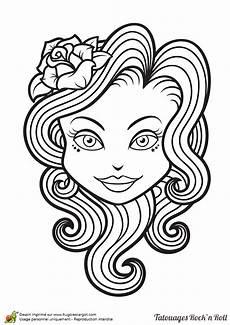 dessin de tatouage coloriage tatouage rock fille