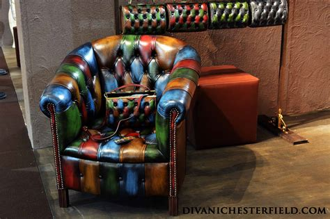 Poltrona Chesterfield Originale Inglese Vintage Patchwork