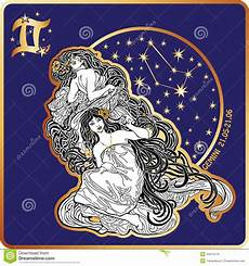 zwilling sternzeichen frau horoscope gemini zodiac sign with womans stock